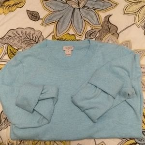 Robin's egg j crew cotton and wool sweater